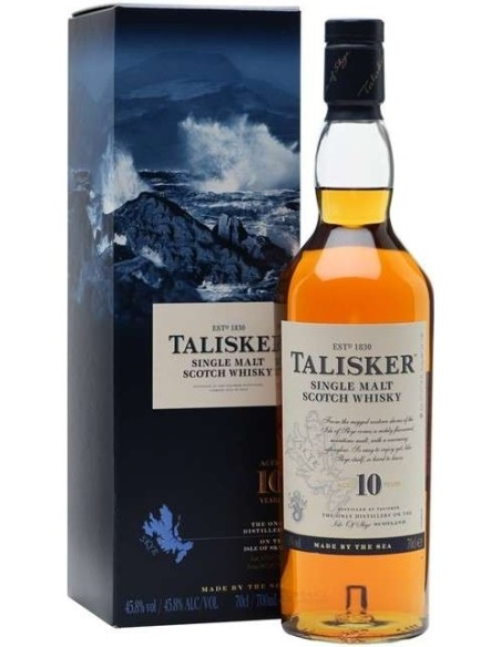 Talisker Single Malt Scotch Whisky 10 years Champagne di Skye with case