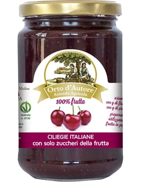 Jam 100% fruit Cherries Italian Orto d'Autore
