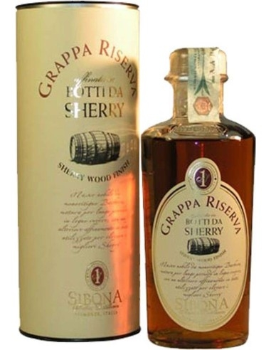 Grappa Sibona Riserva refined in barrels from Sherry with case