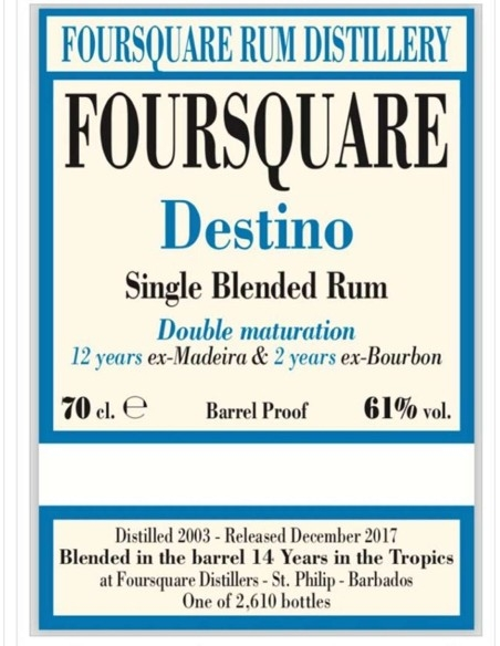Destino 2003 Single Blended Rum Foursquare with case