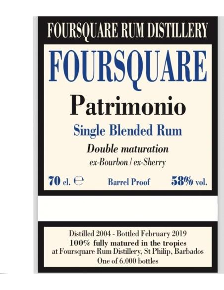 Patrimonio Single Blended Rum Foursquare con Astuccio