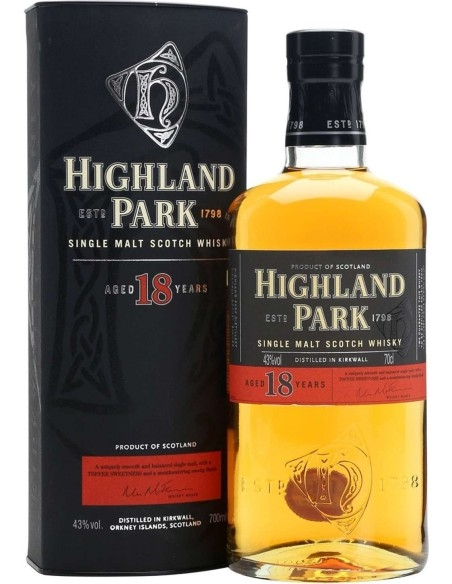 Single Malt Scotch Whisky 18 years old Highland Park 1798 with case