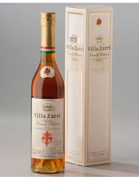 Brandy with selection of Tuscan tobacco Villa Zarri vintage 1988 with case