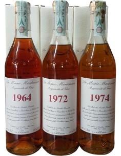 Tris di annate 1964, 1972, 1974 Acquavite di Vino Mario Montanaro Brandy Italiano